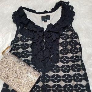 Cynthia Rowley Black Lace Overlay Ruffle Blouse